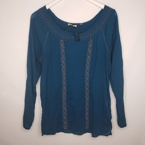 NIne West Teal Embroidered LS Blouse